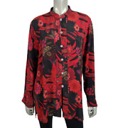 Chicoand039s Womens Top Size 2 Large 100 Silk Tunic Button Up Floral Long Sleeve Red