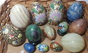 Lot Of 13 Collector Eggs Marble Wood Cloisonne Painted Jade Onyx And Stands