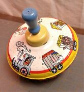 Vintage Ohio Art Small Spinning Top Circus Train With Animals
