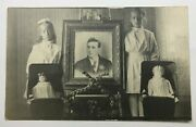Two Dolls And 2 Girls - Most Unusual - In Remembrance Image Vintage Circa 1910