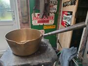 Victorian Antique Solid Brass And Iron Riveted Handle Kitchen Cooking Pan Pot