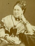 Woman In Very Busy Outfit Lace Trim Necklace Hair Bow. Cdv. London England.