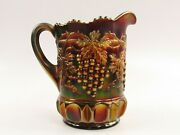 Northwood Grape And Cable Amethyst Carnival Glass Pitcher D076