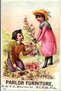 Vtg 1880's Victorian Trade Card Ad, Chas S White Parlor Furniture, York Pa Penn
