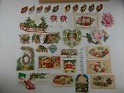 Lot Of Vintage Victorian Die Cut Gift Tags, Christmas, Love, Valentines