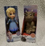 Disney Frozen 2 Posable Mini Toddler Elsa And Sven Collectable Doll Toy Figure