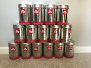 Lot Of 15 Empty Illy Coffee Cans Decorative Food Storage Containers Tins Lids