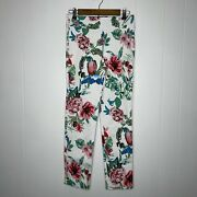 Krazy Larry Women's Floral Parrot Pull On Pants Stretch White Size 6