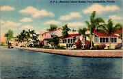 Vtg 1930and039s Beautiful Island Houses Homes In Ft Lauderdale Florida Fl Postcard