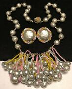 Miriam Haskell Set Rare Vintage Signed Easter Parade Pearl Necklace Earrings A54