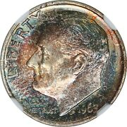 1963 10c Roosevelt Silver Dime Colorful Toned - Ngc - Ms66