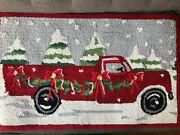 """Red Truck Christmas Tree Hooked Rug 20"""" By 32"""""""