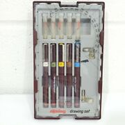 Rotring Rapidograph F 5 Pen Set 0.25 To 0.70 Tips -great Condition Vintage Pens