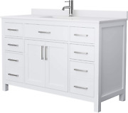 Beckett 54 Inch Single Bathroom Vanity In White White Cultured Marble Counterto