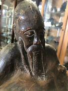 Confucius Reading Statue Natural Wood Root Carving Antique Woodcarving Art