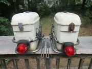 Vintage Motorcycle Hard Shell Shoei Saddle Bags With Tail Lights And Guards And Key