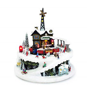 Winter Train Station 6.75 Inch Light Up Musical Tabletop Diorama Plays Various