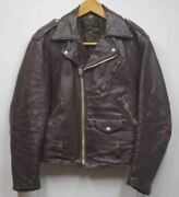 Vintage 1960s Schott Perfecto One Star Brown Riders Jacket Mens M Size Black Tag