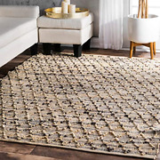 Nuloom Adeline Lattice Jute Rug 6and039 X 9and039 Natural
