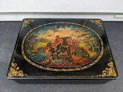 Large Vintage Russian Lacquered Box Hand Painted Signed Fantastic Quality