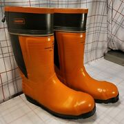 Harvik Chainsaw Resistant Steel Toe Rubber Logger Boots Size 14