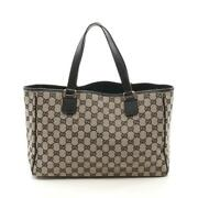 Gg Canvas Hand Bag Tote Leather Beige Black Collection Series Shippingfree