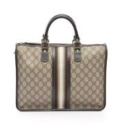 Gg Plus Hand Bag Pvc Leather Beige Multi Colored Shippingfree Collection