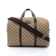 2way Gg Canvas Boston Bag Leather Beige Dark Brown Collection Shippingfree
