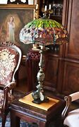 Vintage Large Style Dragonfly Table Lamp Bronze Ceramic Stand 40h 21w