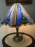 Stained Glass Table Desk Lamp Antique Brass Stand Peacock Art Nouveau