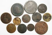 Lot Of 12 Foreign Copper Brass Colonial Coins 1700and039s-1800and039s Unknown Worn Damage