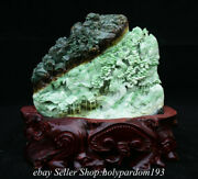 11.2 Chinese Natural Green Dushan Jade Carving Mountain Tree House Sculpture
