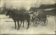 Wwi German Soldier Horse Drawn Wagon Winter Fur Coat 1916 Long Message On Back