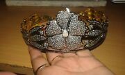 Victorian Diamond Bold Flowery Tiara Christmas Offer Crown 925 Sterling Silver