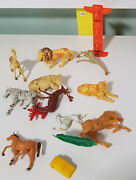 Mixed Lot Animal Old Plastic Figurines Bits And Pieces Cow Lion Horse Zebra