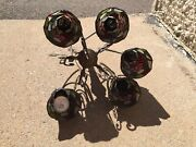 midcentury Style Leaded Stained Glass Chandelier W/ Bird Grapes Flower.
