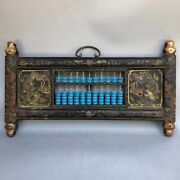 Chinese Wood Lacquerware Color Drawing Dragon Phoenix Frame Abacus Wall Hanging