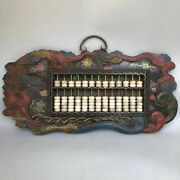 Old China Wood Lacquerware Color Drawing Dragon Frame Abacus Wall Hanging Statue