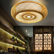 Rattan Woven Retro Lamp Shade Cafe Replacement Ceiling Light Shades Cover