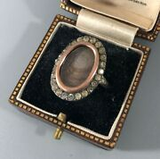 19th Century Silver And Yellow Gold Paste Mourning Ring Size R 2.2cm Caezx