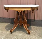 Antique Victorian Walnut White Marble Top Parlor Table 1880s Era