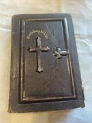 Vintage 1890 Holy Bible In French Pocket Size Antique Tooled Leather Very Rare