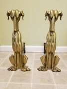 Antique Art Deco Andirons Or Firedogs Brass Dogs Marked Tenn Plate Co Nashville
