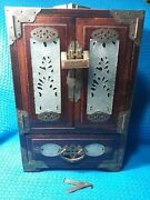 Old Chinese Hand Carved Jade Brass Wood Jewelry Box Chest Cabinet With Lock...