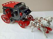 Large Vintage Ideal Stage Coach W/ Hard Plastic Model White Horses. Made In Usa