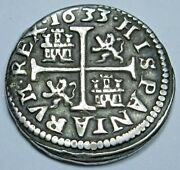 1633 Spanish Silver 1/2 Reales Antique 1600s Colonial Cross Pirate Treasure Coin
