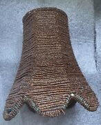 Beaded Lamp Shade Brown Bronze Scalloped Candle Light Bulb Clip On