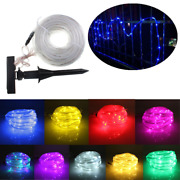 10m 100leds Solar Rope Tube Lights Led String Strip Waterproof Christmas Party D