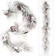 6 Ft Snow Covered Pine Cone Christmas White Garland Holiday Indoor Outdoor Decor