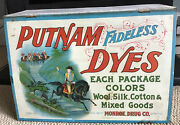 1920s Putnam Fadeless Dyes Advertising Cabinet Tin Lithography Red Coats Display